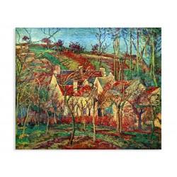 """Репродукція """"Червоні дахи в кутку села взимку, 1877. Каміль Піссарро"""""""
