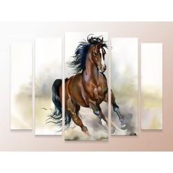 """Модульна фотокартина """"Кінь, що біжить. Акварель"""""""