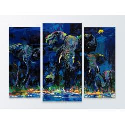 "Модульна фотокартина ""Три слона. ЛеРой Нейман"""