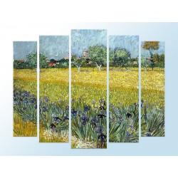 """Модульна фотокартина """"Поле з ірисами біля Арлі. Вінсент Ван Гог"""""""