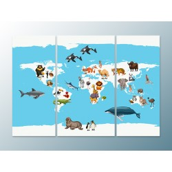 """Модульна картина """"Карта світу з тваринами"""""""
