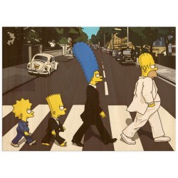 """Постер на дереві """"The Simpsons Abbey Road"""""""
